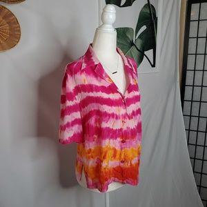 Escada Silk Tie Dye Button Up Shirt Pink Boho Chic
